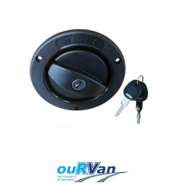 CARAVAN LOCKABLE WATER FILLER WITH CAP WITH KEYS BLACK 25MM HOSE 800-00902 COAST