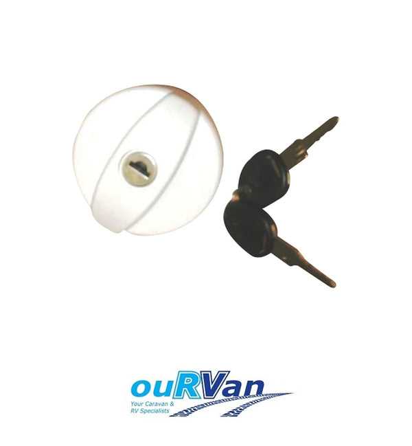 CARAVAN LOCKABLE WATER FILLER CAP WITH KEYS WHITE 800-00920 COAST