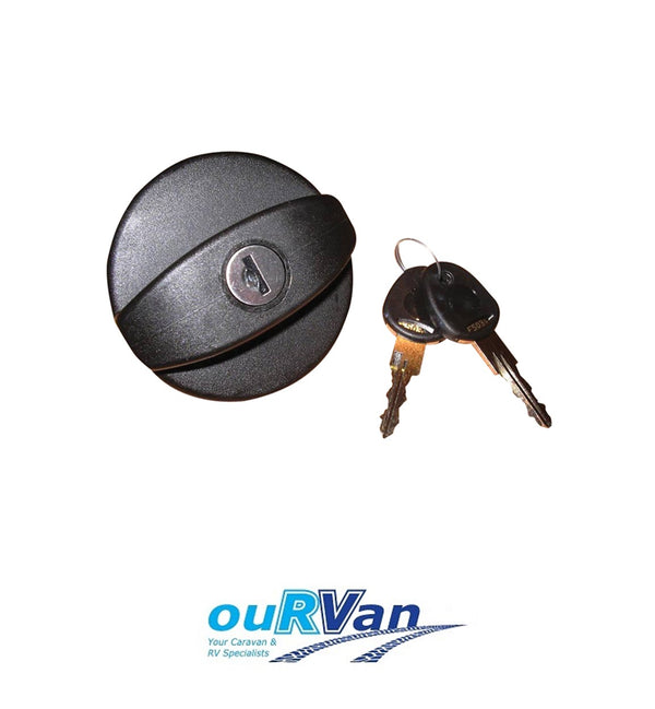 BLACK SPARE CAP & KEYS FOR LOCKABLE CARAVAN WATER TANK FILLER 800-00922
