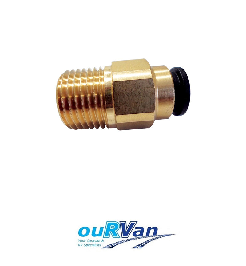 JG BRASS STRAIGHT 12MM x 1/2 NPT STR ADAPTOR. NC2726 800-02019