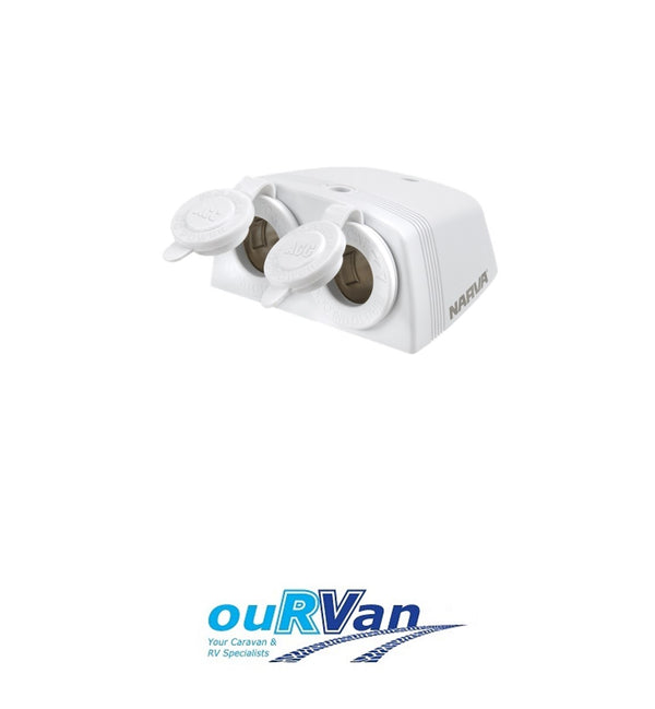 NARVA 81160WBL SURFACE MOUNT ACCESSORY SOCKET TWIN WHITE CIGARETTE CARAVAN