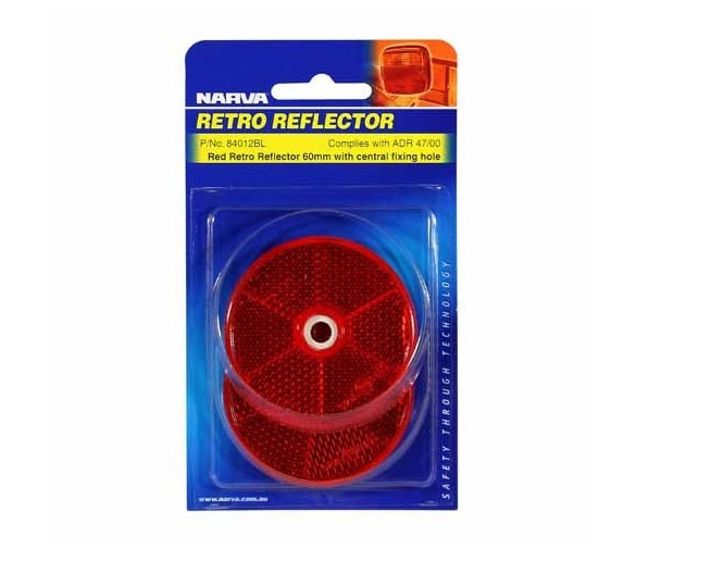2 PACK NARVA REFLECTOR 60MM RED FIXED BOLT 84012BL CARAVAN CAMPER TRAILER RV
