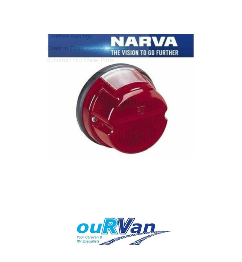 NARVA TRAILER LAMP ROUND RED STOP LIGHT WITH NUMBER PLATE (85840BL) RETRO