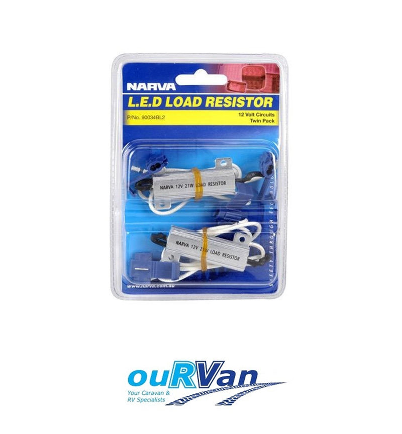 TWIN PACK NARVA 12 VOLT 21 WATT LED LOAD RESISTOR 90034BL2 CARAVAN TRAILER CAR