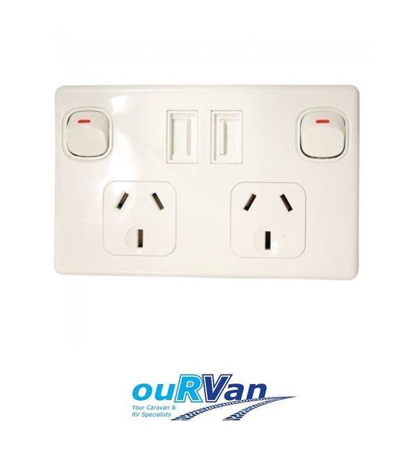 DOUBLE POLE DOUBLE USB POWER POINT WHITE 10AMP 4160