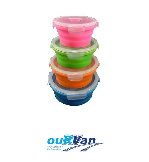SET OF 4 COLLAPSIBLE ROUND CONTAINERS CLP06