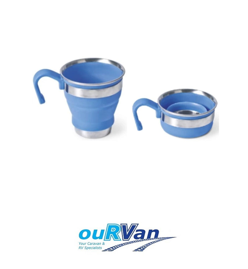 COMPANION POP UP MUG BLUE STAINLESS STEEL SILICONE COMP310BL