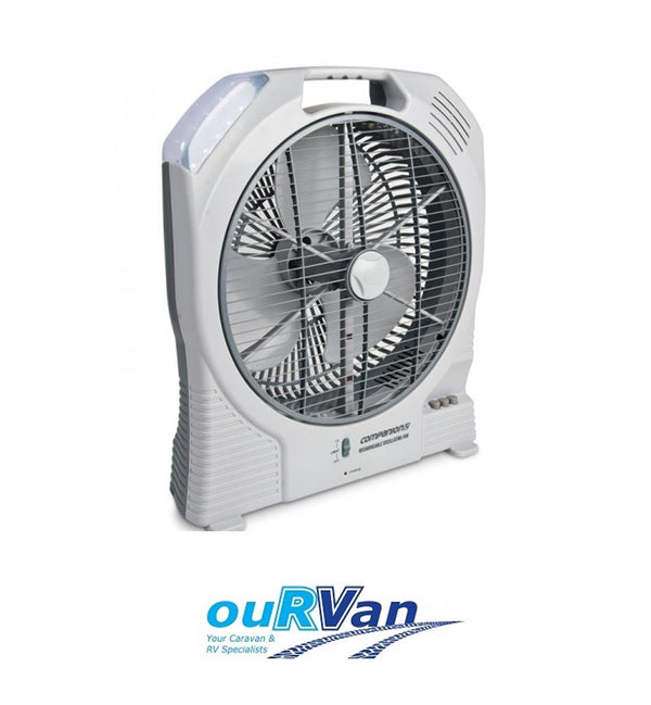 COMPANION 12V VOLT RECHARGEABLE OSCILLATING PORTABLE FAN CARAVAN COMP389