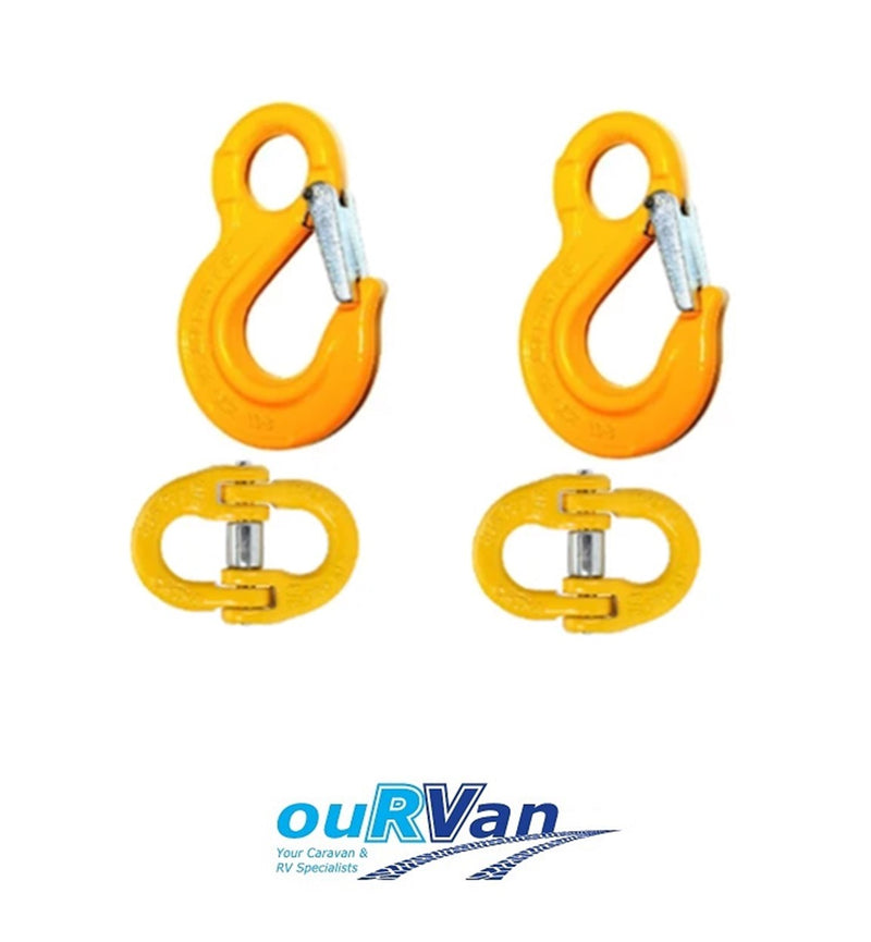 6MM EYE SLING HOOK & CHAIN LOAD RATED CONNECTOR KIT 1.1T