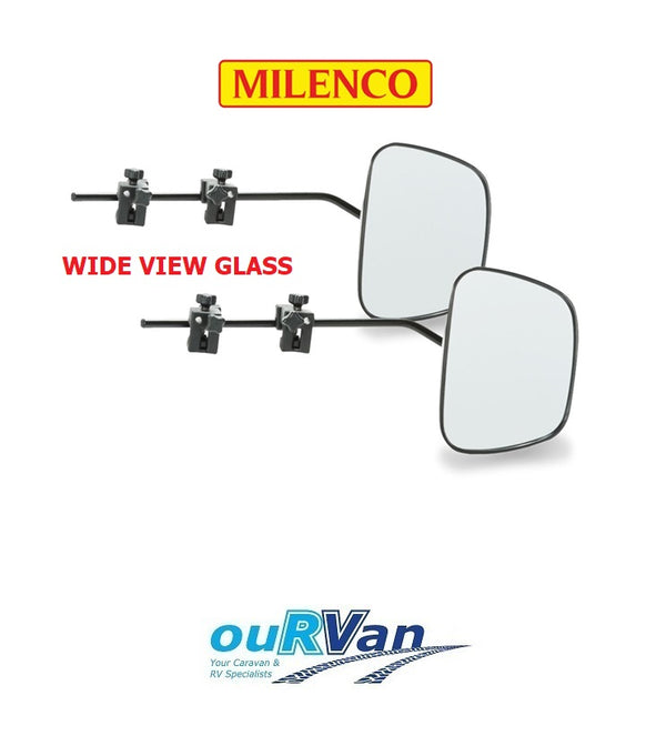 PAIR OF MILENCO GRAND AERO 3 EXTRA WIDE CARAVAN GLASS TOWING MIRROR M-2912