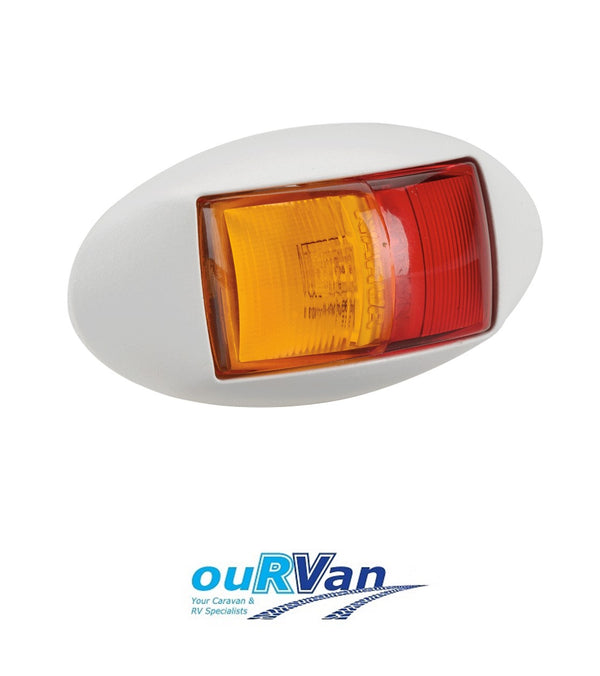 NARVA 10–33 VOLT MODEL 14 L.E.D SIDE MARKER LAMP (RED/AMBER) WHITE HOUSING Part No. 91404WBL