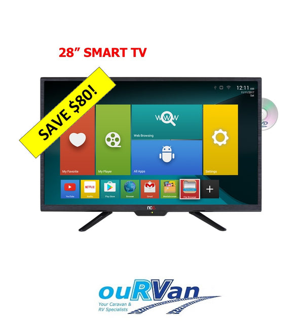 "NCE 28"" Smart LED LCD TV/DVD Combo 12VDC (Bluetooth)"