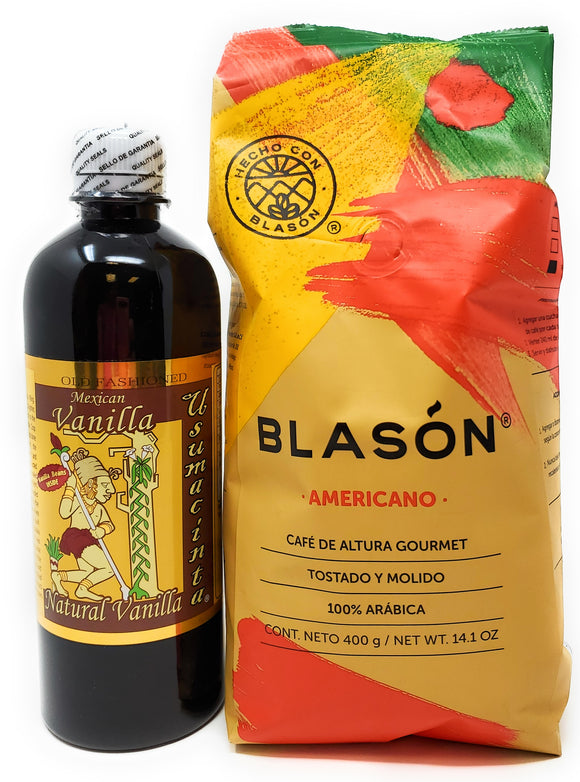 Holiday Gift Set:  Usumacinta 16.8 Ounce Pure Amber Vanilla and Blason Americano Coffee