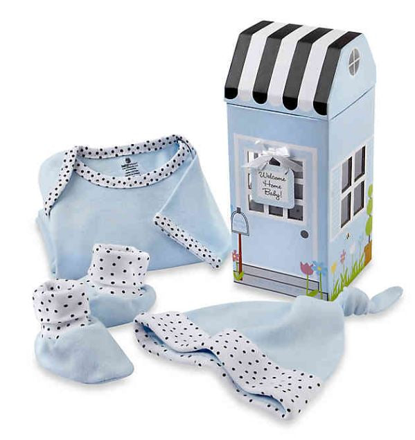 3-Piece Welcome Home Baby Layette Set in Blue/Pink