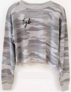 FYB Camo Terry Cropped Long-Sleeve Top