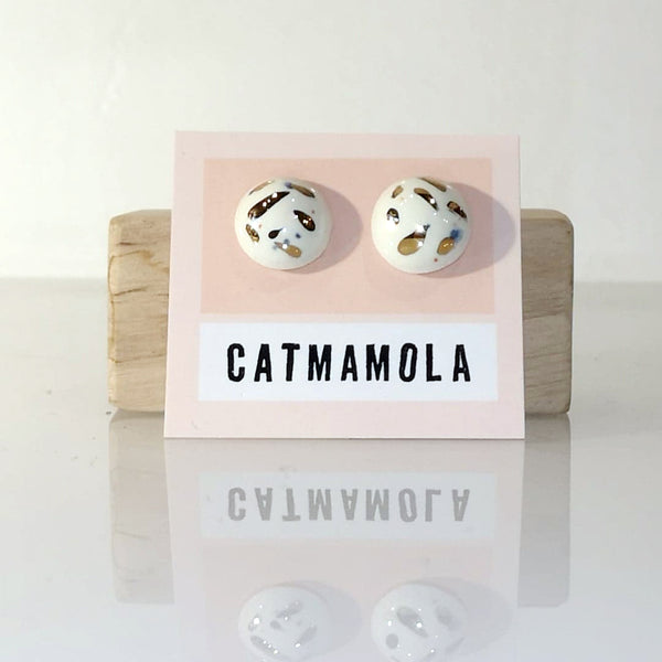 Catmamola Ceramics - Porcelain Stud Button Earrings (Speckle)