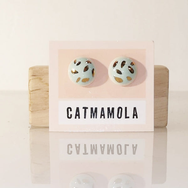Catmamola Ceramics - Porcelain Stud Button Earrings (BabyBlue)