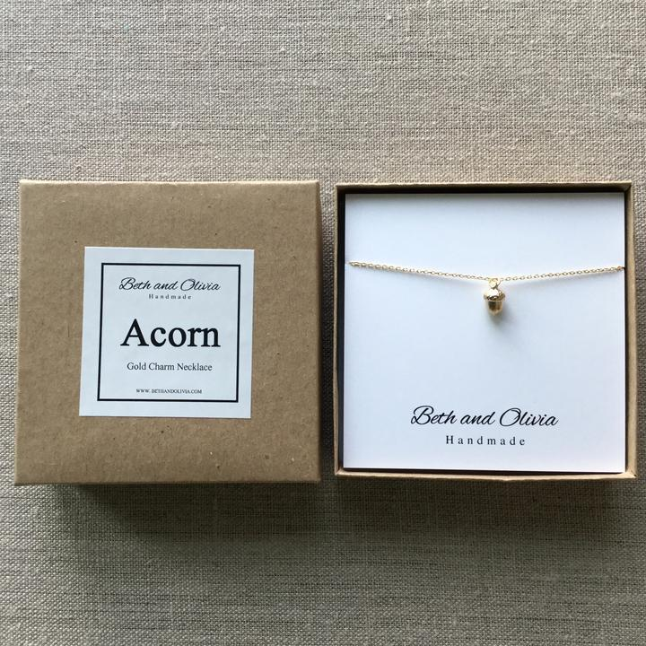 Beth + Olivia - GOLD ACORN NECKLACE