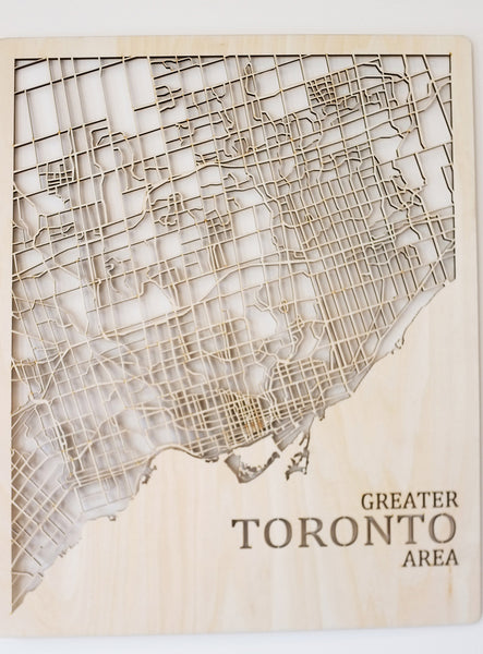 Printable Minds - Lasercut GTA Toronto Wooden Map