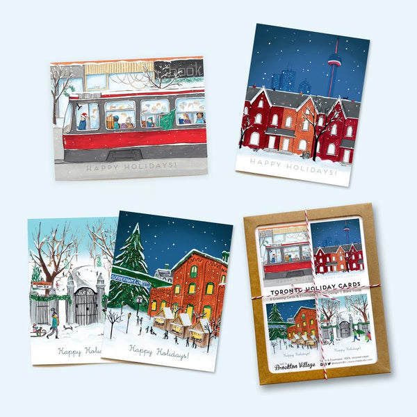 Made in Brockton Village - Assorted Box of 8 'Very Toronto' Holiday Cards