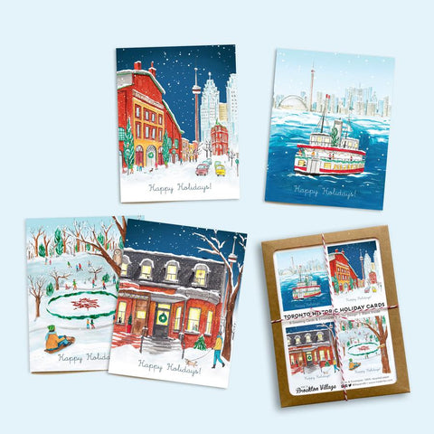 Made in Brockton Village - Assorted Box of 8 'Toronto Historic Holiday' Holiday Cards