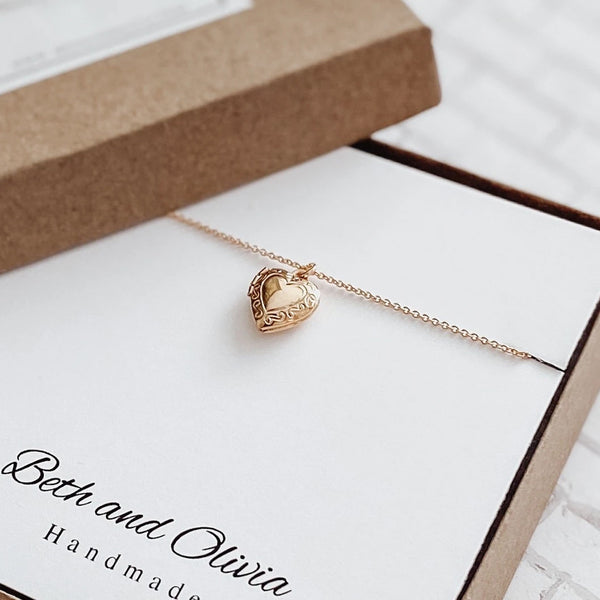 Beth + Olivia - GOLD HEART LOCKET NECKLACE