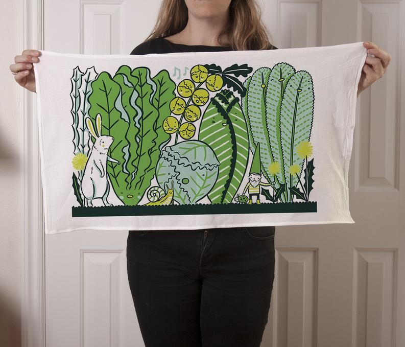Claire Manning - Tea Towel with Greens Garden