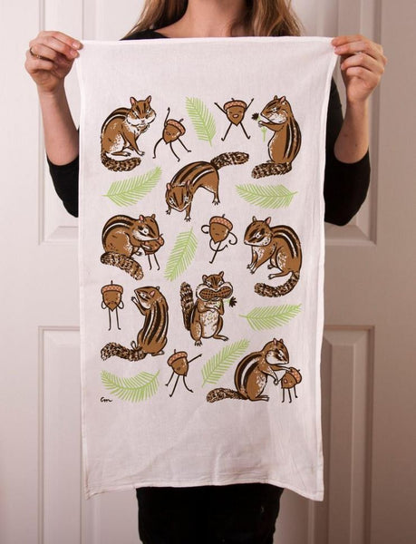 Claire Manning - Tea Towel with Charlie Chipmunk