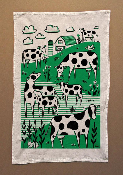 Claire Manning - Tea Towel with Green Field Cows