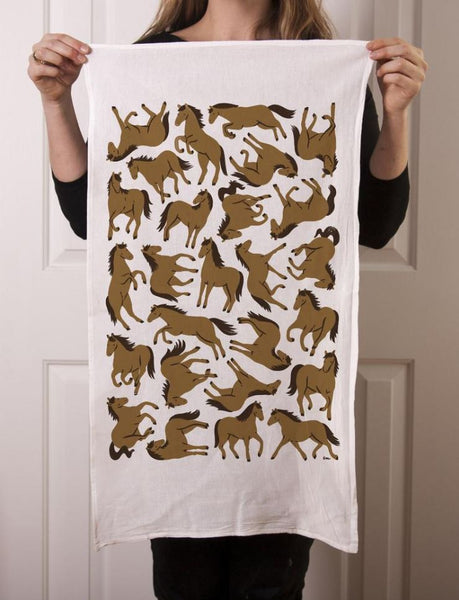 Claire Manning - Tea Towel with Floating Horses in Brown