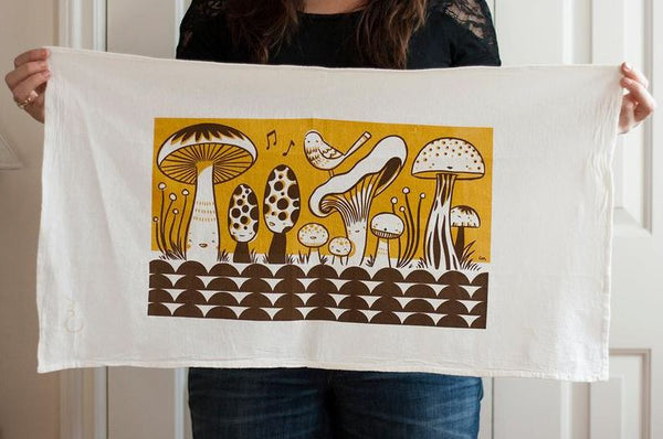 Claire Manning - Tea Towel with Happy Mushrooms