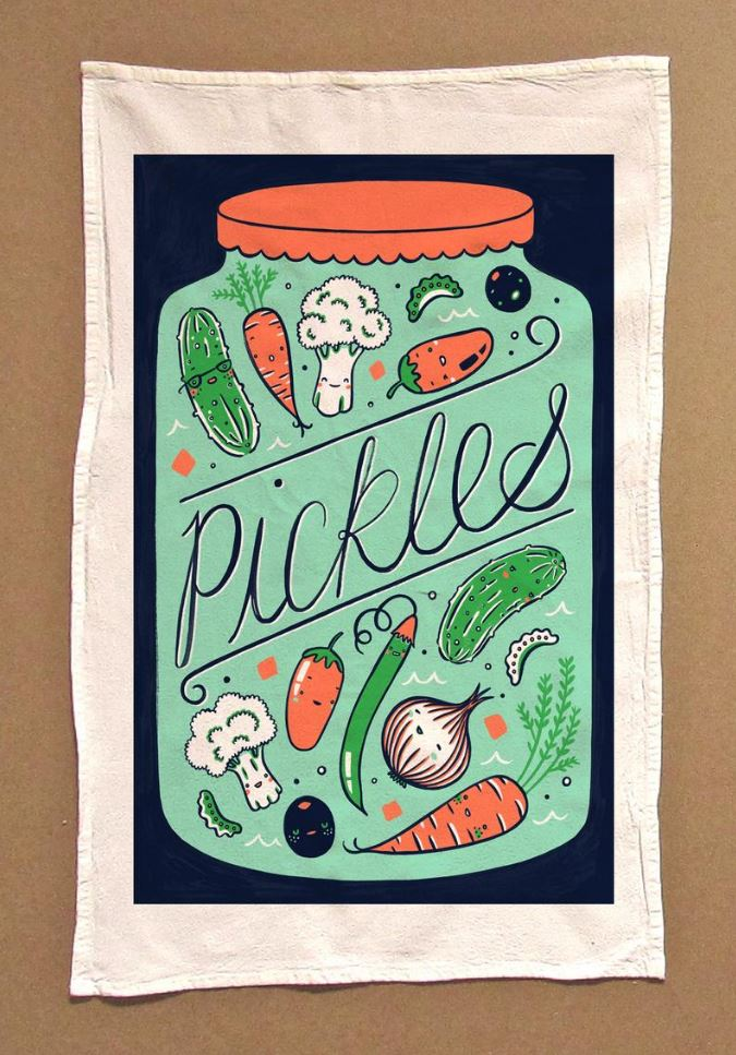 Claire Manning - Tea Towel with Pickles