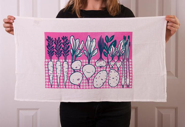 Claire Manning - Tea Towel with Root Vegetables