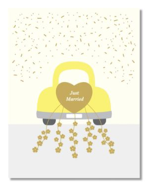 Yellow Wedding Car Card