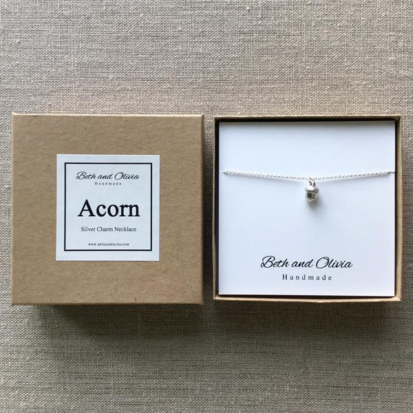 Beth + Olivia - SILVER ACORN NECKLACE