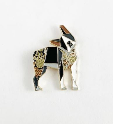 Origami Boston Dog Enamel Pin