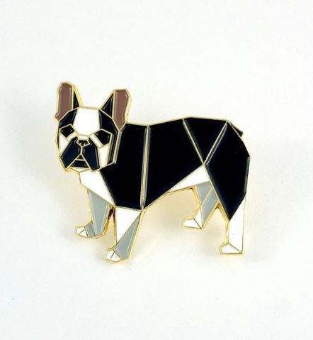 Origami French Bull Dog Black & White Enamel Pin