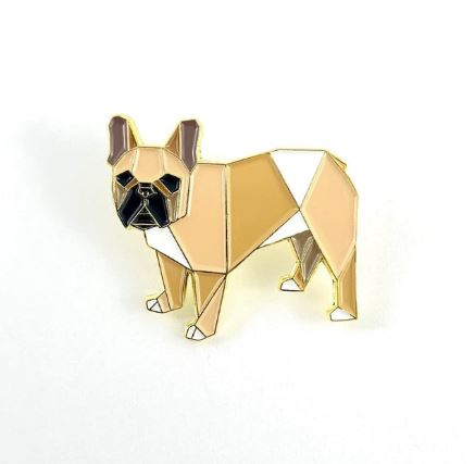 Origami Frech Bull Dog Brown Enamel Pin