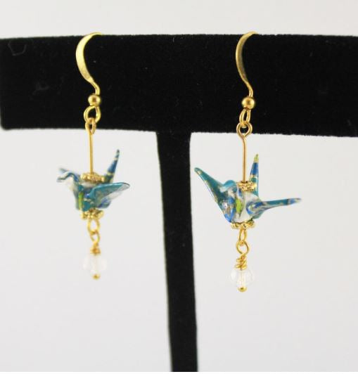 Teal Origami Paper Crane Dangle Earrings