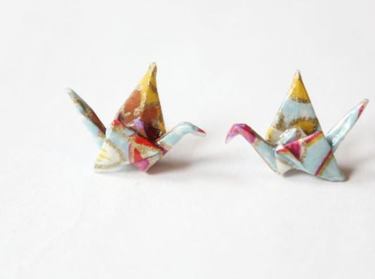 Origami Paper Crane Stud Earrings