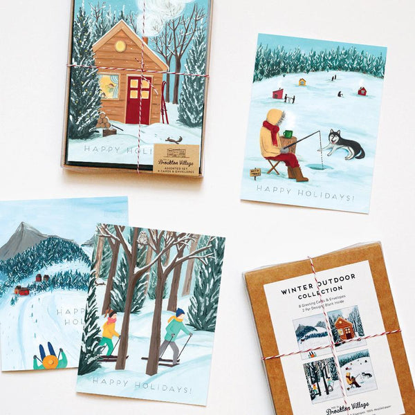 Made in Brockton Village - Assorted Box of 8 'Outdoor Winter' Holiday Cards