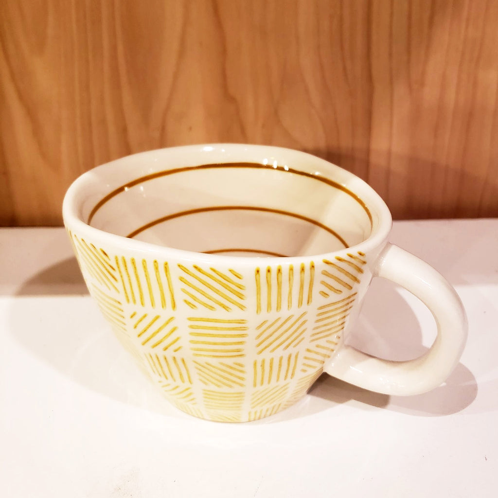 'GEO' Hand-Painted & Handmade Ceramic Cups (Yellow Maze)