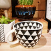 'GEO' Hand-Painted & Handmade Ceramic Cups (Triangles)