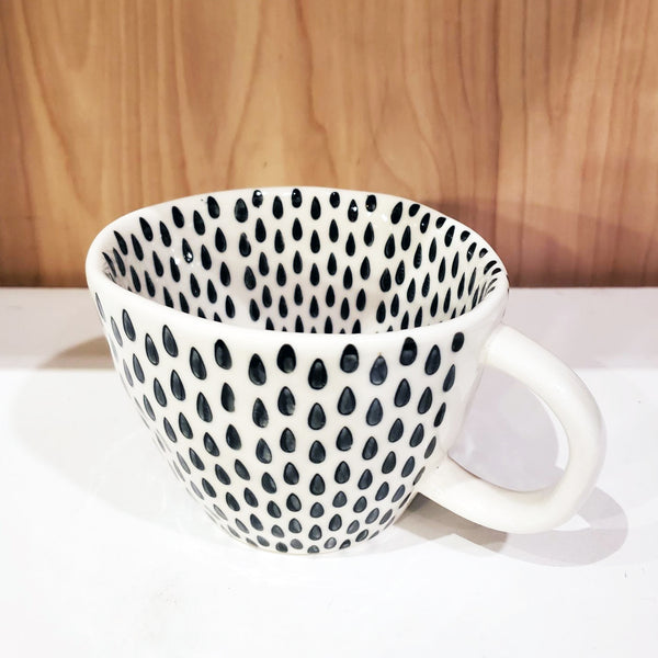 'GEO' Hand-Painted & Handmade Ceramic Cups (Rain Drops)