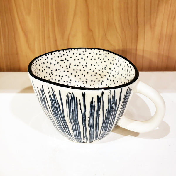 'GEO' Hand-Painted & Handmade Ceramic Cups (Blue Straws)