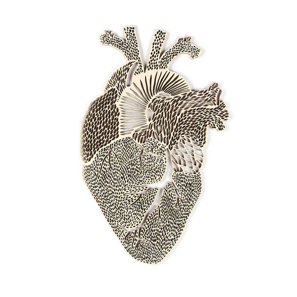 Light + Paper Studio - ANATOMICAL HEART WOODEN ARTWORK