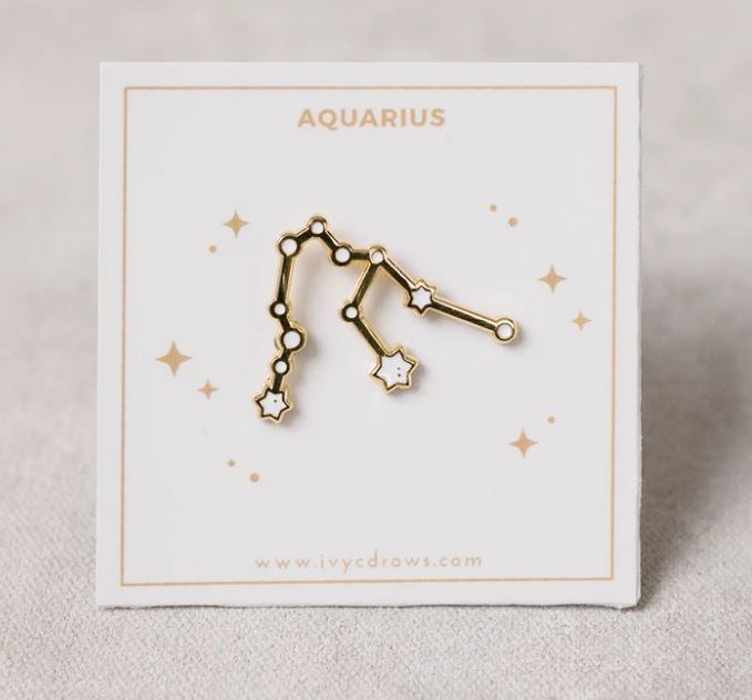 Ivy c Draws Zodiac Pin Aquarius
