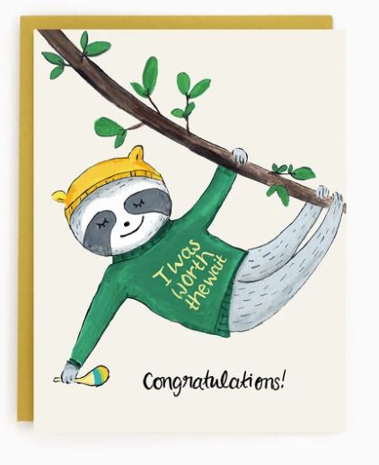 Made in Brockton Village - Sloth Baby Card