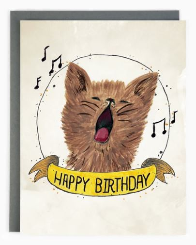 Made in Brockton Village - Happy Birthday Cat Card