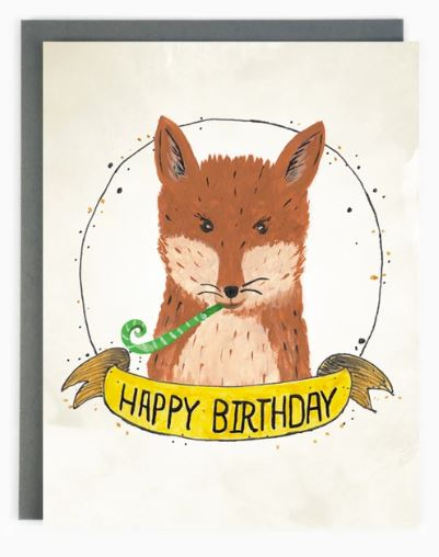 Made in Brockton Village - Happy Birthday Fox Card